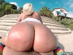 Big Bottomed Blonde Enjoys Hard Pounding 3